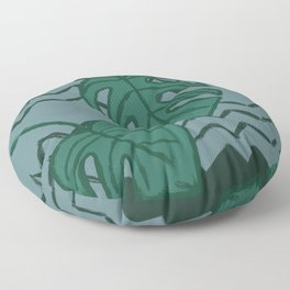 Split Leaf Philodendron Green and Blue Floor Pillow