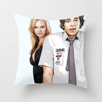 chuck Throw Pillows featuring Chuck Chuck by SyafSyaf