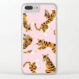 Big cat - vintage cute tiger hand drawn illustration pattern on pastel background Clear iPhone Case