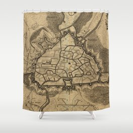 Vintage Map of Ghent Belgium (1709) Shower Curtain