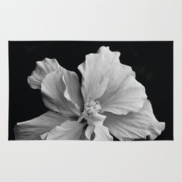 Hibiscus Drama Study - Black & White High Impact Photography Rug
