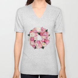 Peony Floral Wreath Painting Unisex V-Neck