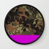david fleck Wall Clocks featuring Magenta Fleck Tarn Camo by Derek Boman