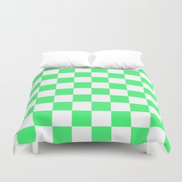Cheerful Green Checkerboard Pattern Duvet Cover