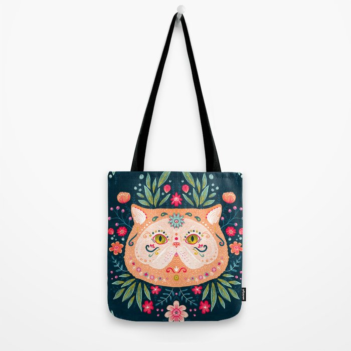 Candied Sugar Skull Kitty Tote Bag
