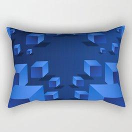 Blue Geometric Boxes Design Rectangular Pillow