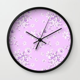 Flowers on a lilac kolor 2 Wall Clock