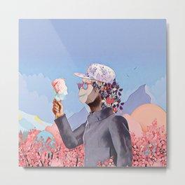 Floral Monkey Metal Print