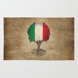 Vintage Tree of Life with Flag of Italy Rug