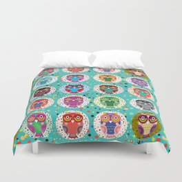 funny colored owls on a turquoise background Duvet Cover