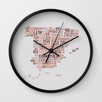 spain Wall Clocks featuring Spain by eneasmarin