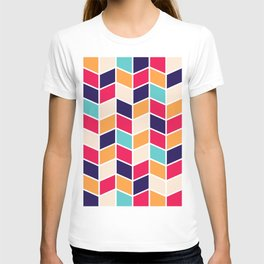 COLORFUL RETRO HERRINGBONE PATTERN T-shirt
