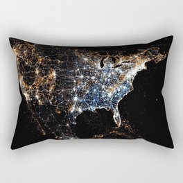 North America and the United States aerial view from outer space at night Rectangular Pillow