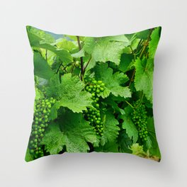 Green Grape Clusters Among the Vines Throw Pillow