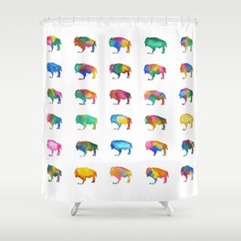 Watercolor Buffalo Series Shower Curtain