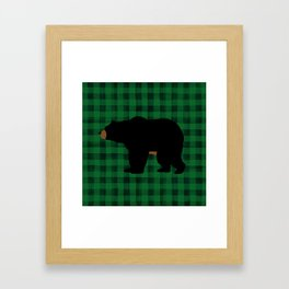 Black Bear - Green Plaid Framed Art Print