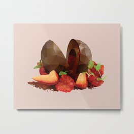 Chocolate Mousse Dessert with Raspberry Centre polygon art Metal Print