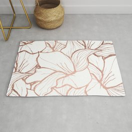 Modern handdrawn abstract faux rose gold flowers pattern Rug