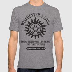 SUPERNATURAL WINCHESTER AND SONS Tri-Grey MEDIUM Mens Fitted Tee