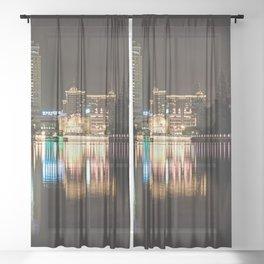Night city, night river (Nantong, China) (2014-12NN9) Sheer Curtain