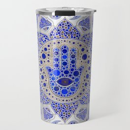 Hamsa Hand -Hand of Fatima Dot Art On Mother of pearl Travel Mug