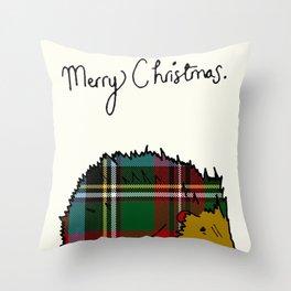 Winter Hedgehog Throw Pillow