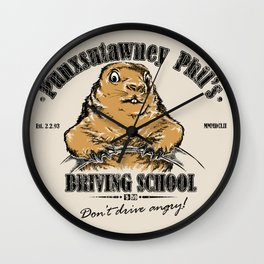 Punxsutawney Phil's Driving School Wall Clock