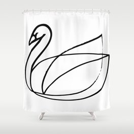 Swan, Brushed Ink Shower Curtain