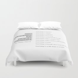 Ten principles for Good Design. By Dieter Rams Duvet Cover