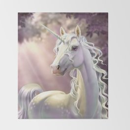Unicorn in the forest Throw Blanket