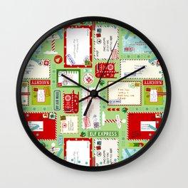Kids Letters to Santa l Christmas Pattern - Mint Green Wall Clock