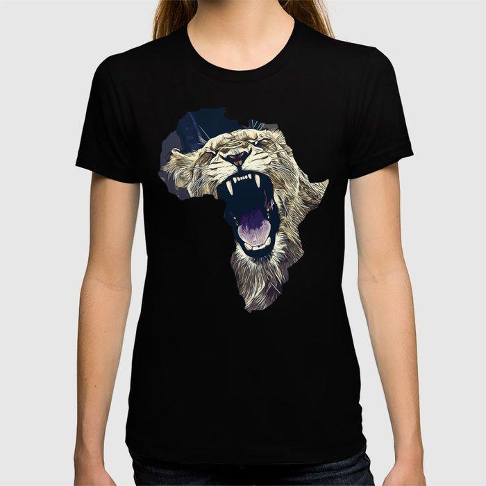 african lioness safari cat v2 vector art foggy night T-shirt
