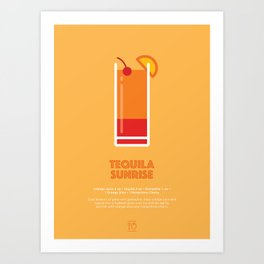 Tequila Sunrise Cocktail Recipe Art Print Art Print