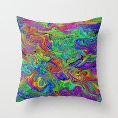 Atomic rainbow splash Throw Pillow