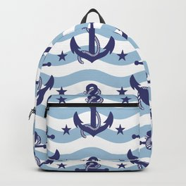 Sailor Stripes and Anchor Pattern Light Blue 10 Backpack