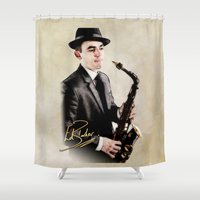 ed sheeran Shower Curtains featuring Ed Barker Signed by Lisa Hayden-Miller