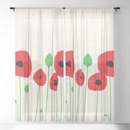 Red poppy love Sheer Curtain