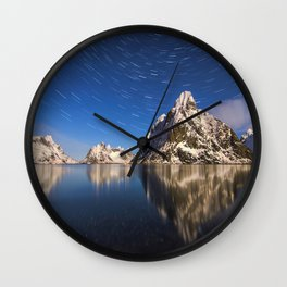 Mid Century Modern Round Circle Photo Graphic Design Swirling Star Sky Above Mountains Wall Clock