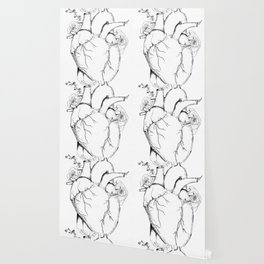 Black and White Anatomical Heart Wallpaper
