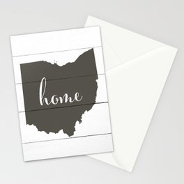 Ohio is Home - Charcoal on White Wood Stationery Cards