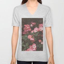 Pink Floral Unisex V-Neck