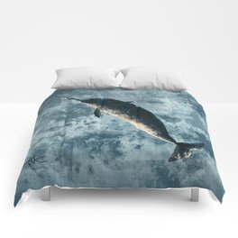 """Jackson the Narwhal"" by Amber Marine ~ Art (Copyright 2015) Comforters"