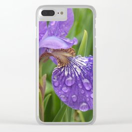 Flower in the rain Clear iPhone Case