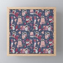 Hygge raccoon Framed Mini Art Print