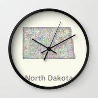 fargo Wall Clocks featuring North Dakota map by David Zydd