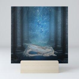 Awesome sleeping ice dragon Mini Art Print