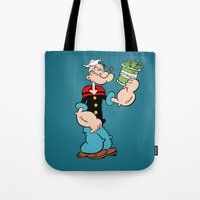 popeye Tote Bags featuring Popeye the Sailor Man by CromMorc
