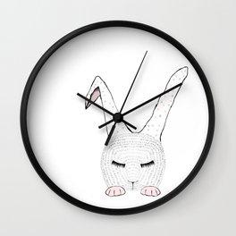 Sleeping Pink Bunnie Wall Clock