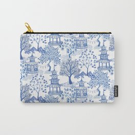 Pagoda Forest Blue and White Carry-All Pouch