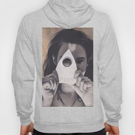 Realism Drawing of Beautiful Woman with Ouija Planchette Piece Hoody